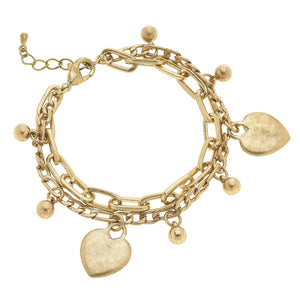 Chain Link Layered Heart Charm Bracelet in Worn Gold.