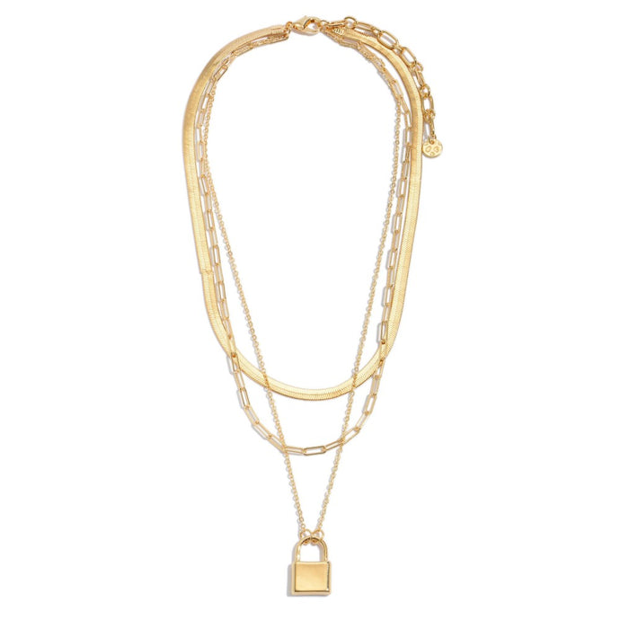 Chain Link Layered Herringbone Lock Necklace in Gold