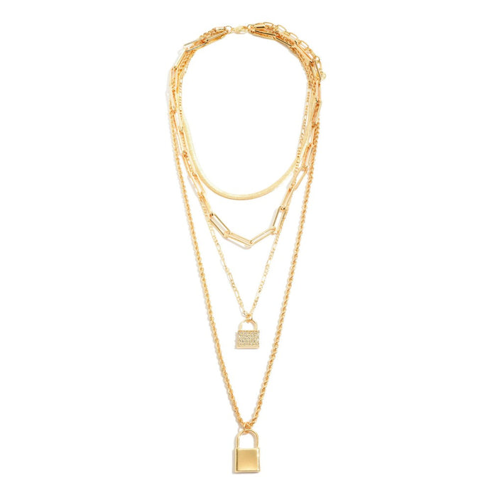Chain Link Layered Lock Pendant Statement Necklace in Gold