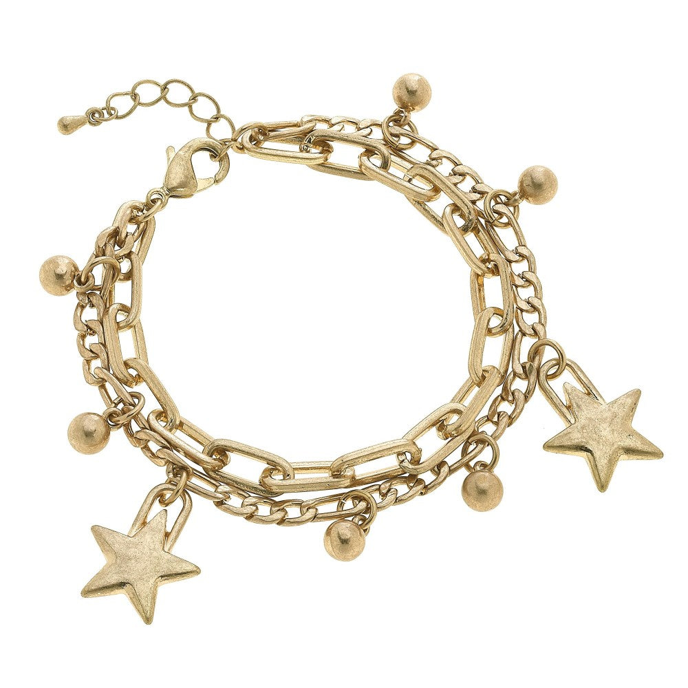 Chain Link Layered Star Charm Bracelet in Worn Gold