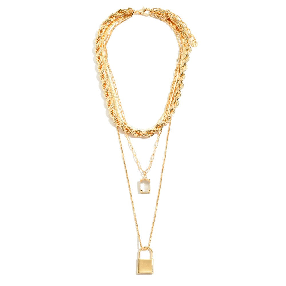 Chain Link Rope Layered Statement Necklace in Gold Featuring Crystal Lock Pendant