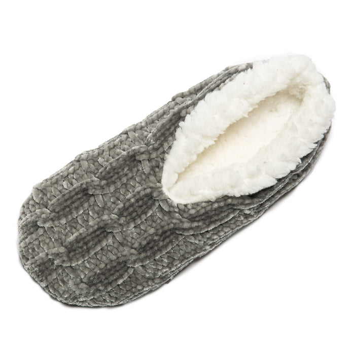 Chenille Gray Non-Slip Lounge Slippers