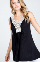 Load image into Gallery viewer, Crochet Neck Tunic Tank Top - Harp & Sole Boutique