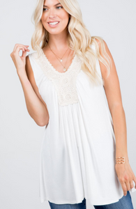 Crochet Neck Tunic Tank Top - Harp & Sole Boutique
