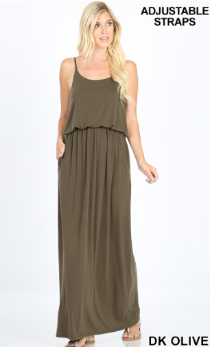 Dark Olive Maxi Dress with Pockets - Harp & Sole Boutique