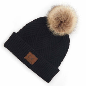 Black Diagonal Stripe Knit Pattern Pom Beanie with C.C Brand Leather Patch.