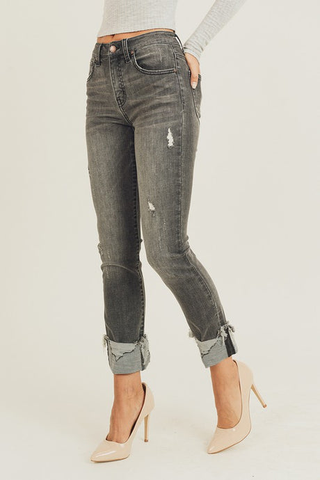 Distressed Charcoal High Rise Cuffed Jeans