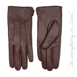 Faux Leather Smart Touch Gloves