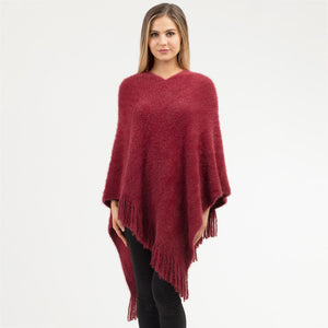 Fuzzy Burgundy Poncho with Tassels