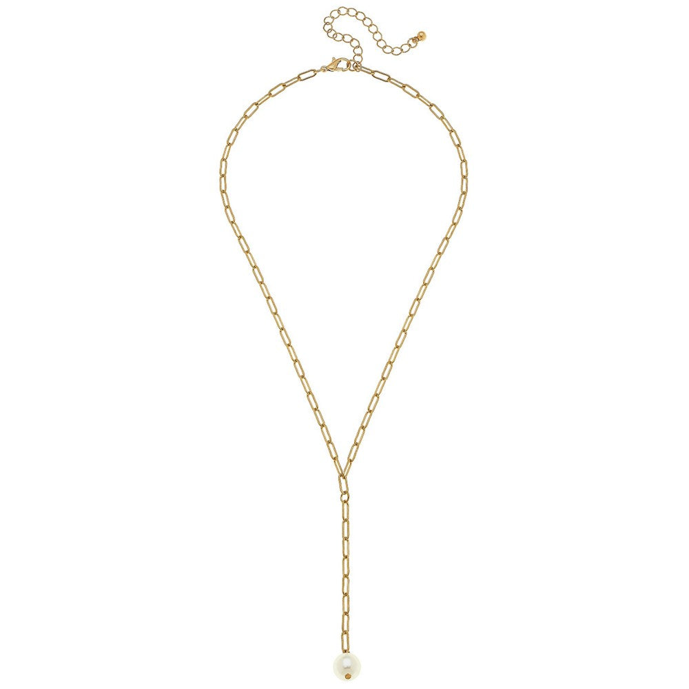 Gold Paper Clip Chain Y-Necklace with Pearl
