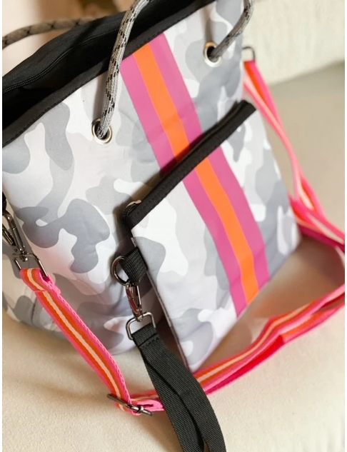 Gray Camo Hamptons Crossbody