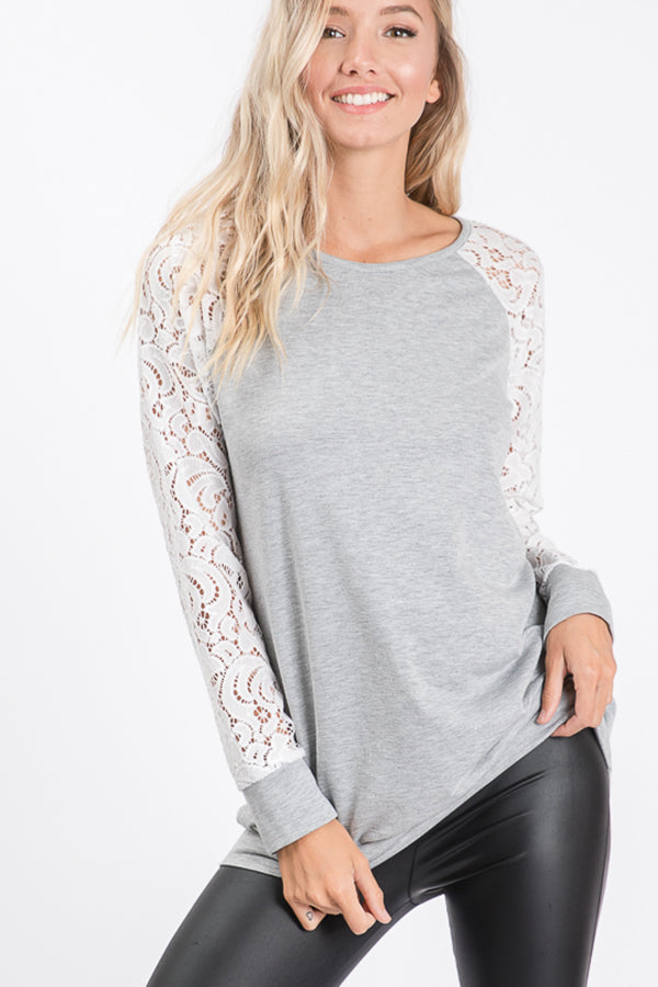 Heather Gray Tunic Top with Lace Sleeves