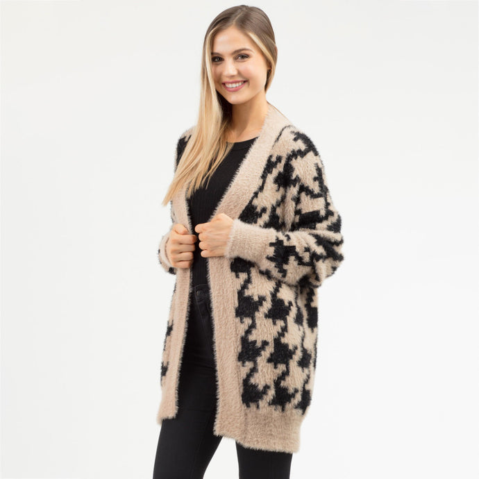 Heavyweight Houndstooth Furry Cardigan - Harp & Sole Boutique