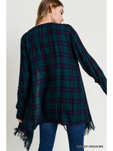 Load image into Gallery viewer, Hunter Green and Navy Plaid Waterfall Cardigan with Frayed Edge