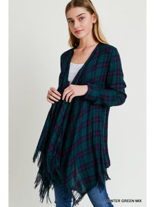 Hunter Green and Navy Plaid Waterfall Cardigan with Frayed Edge