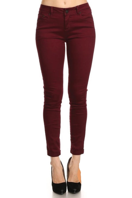 Burgundy Skinny Push Up Pants - Harp & Sole Boutique