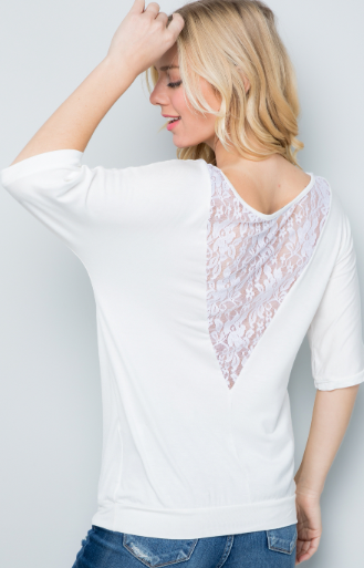 Ivory Lace Back Top - Harp & Sole Boutique