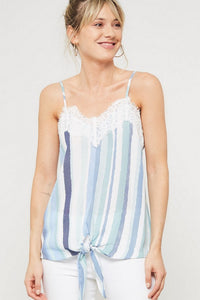 Lace and Stripe Knotted Front Camis - Harp & Sole Boutique