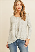 Load image into Gallery viewer, Knotted Light Gray Leopard Long Sleeve Top