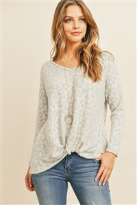 Knotted Light Gray Leopard Long Sleeve Top