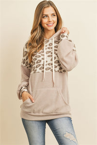 Leopard and Taupe Super Soft Lightweight Hoodie