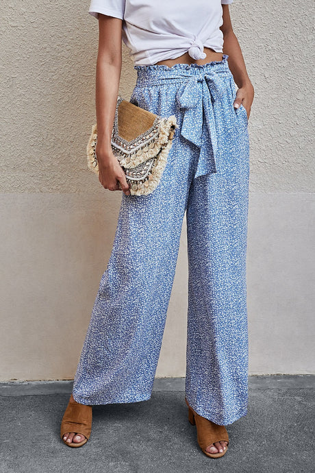 High Waisted Light Blue Floral Tie Front Palazzo Pants