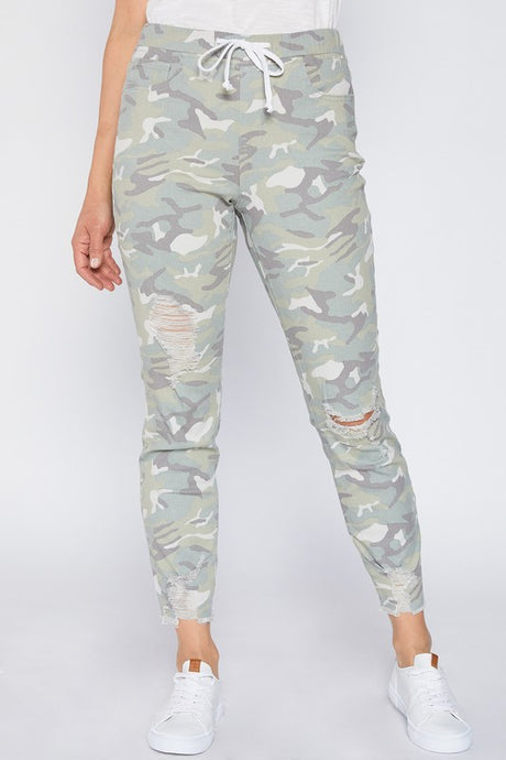 Light Green Camo High-Rise Distressed Jogger