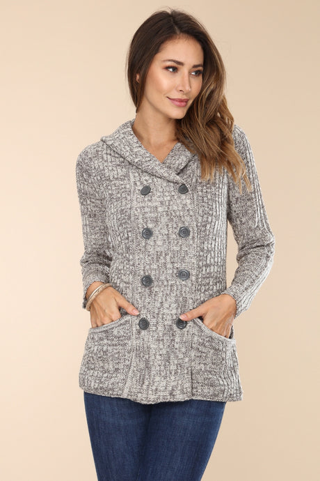 Lightweight Double Button Hooded Sweater