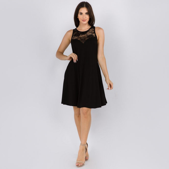 Little Black Lace Dress with Pockets