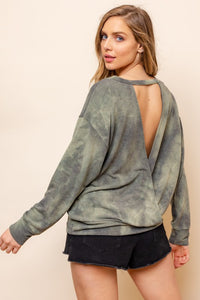 Long Sleeve Olive Tie Dye Open Back Top