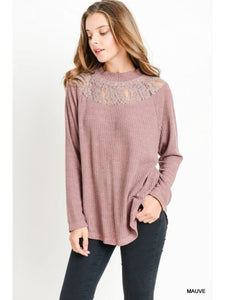 Mauve Waffle Knit Mock Neck with Lace Top
