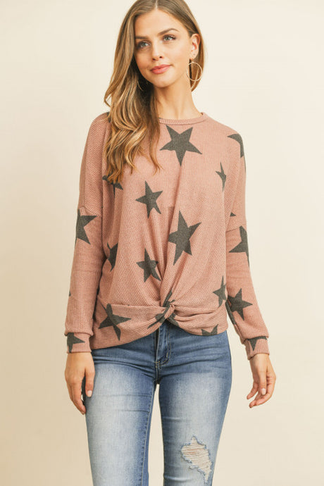 Mauve and Gray Star Knot Front Top