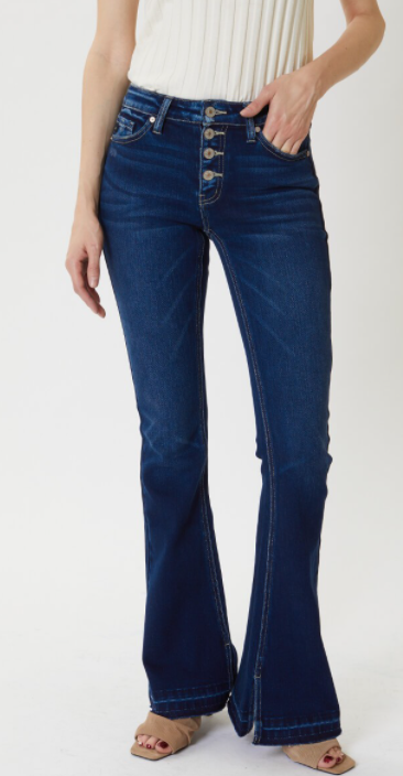 Mid Rise Button Fly Flare Jeans