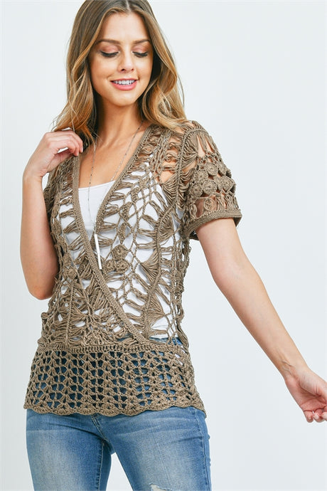 Mocha Short Sleeve Crochet Top