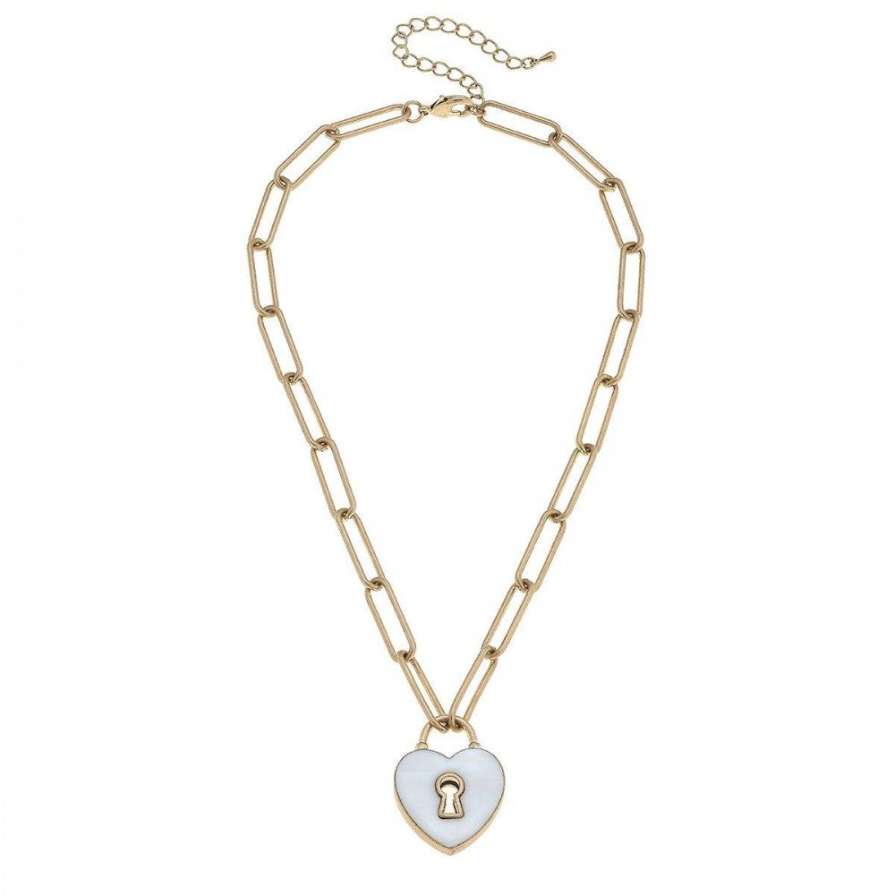 Mother of Pearl Heart Padlock Necklace in Worn Gold