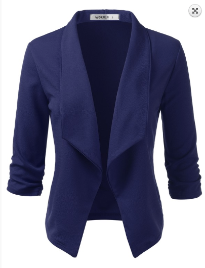 Navy 3/4 Sleeve Open Front Blazer - Harp & Sole Boutique