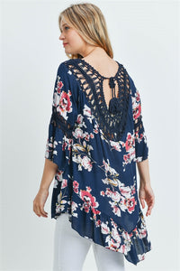 Navy Floral & Crochet Tunic