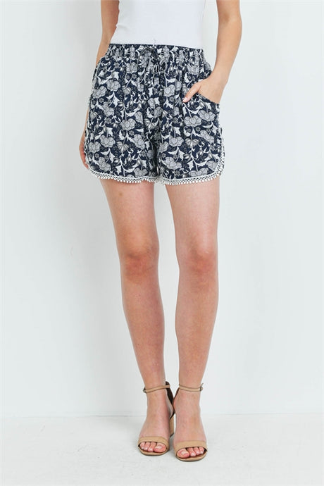 Navy & White Floral Shorts