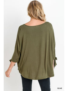 Olive Front Twist Hem Top