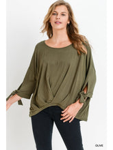 Load image into Gallery viewer, Olive Front Twist Hem Top