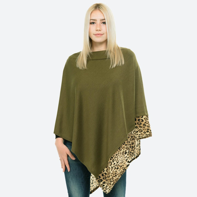 Olive Knit Poncho with Leopard Trim