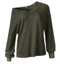 Load image into Gallery viewer, Olive Waffle Knit V-Neck Top