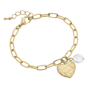 Paper Chain Link Heart & Pearl Charm Bracelet in Worn Gold