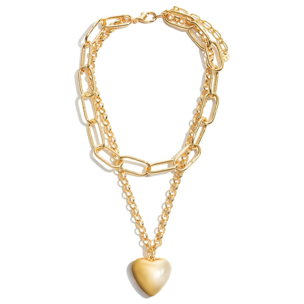 Paper Chain Link Layered Heart Statement Necklace in Gold