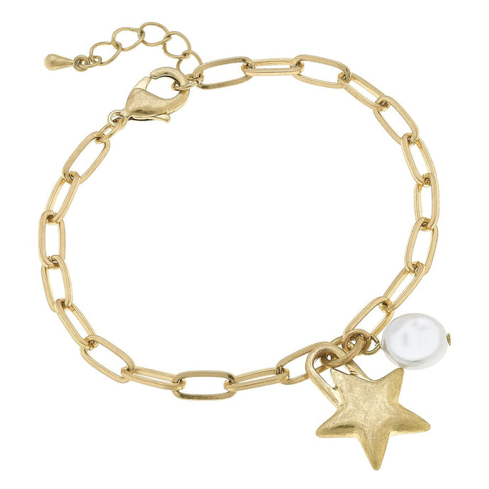 Paper Chain Link Star & Pearl Charm Bracelet in Worn Gold