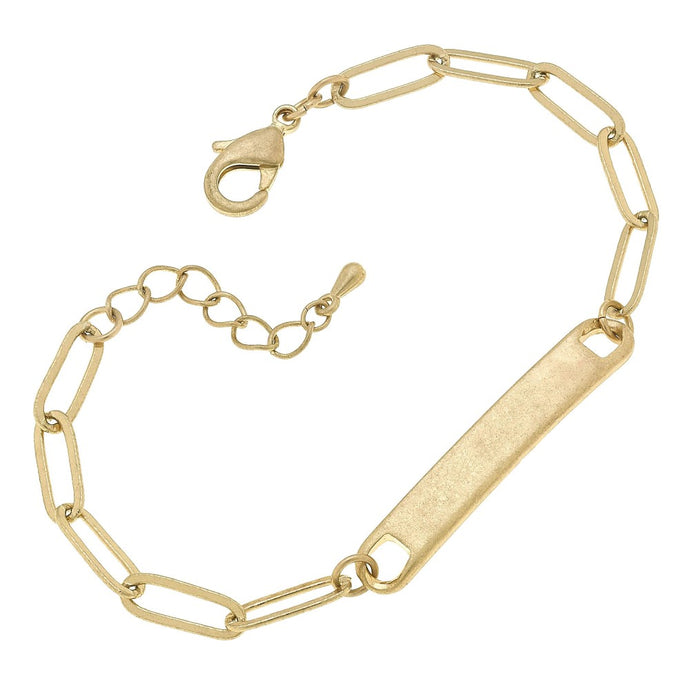 Paperclip Chain ID Bar Bracelet in Worn Gold