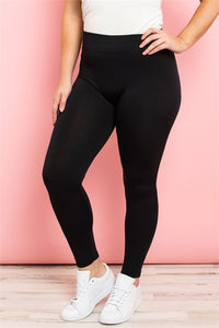 Plus Size Black Fleece Lined Leggings - Harp & Sole Boutique