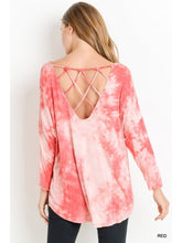 Load image into Gallery viewer, Red Tie Dye Top with Lattice Back