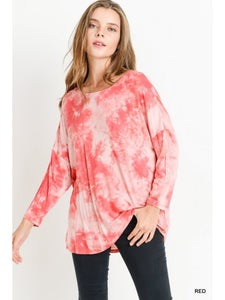 Red Tie Dye Top with Lattice Back