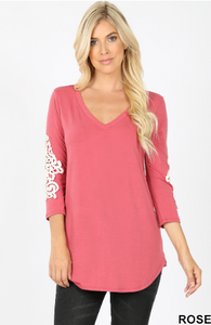 Rose Pink V-Neck Crochet Lace 3/4 Sleeves Top - Harp & Sole Boutique